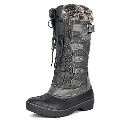 b56fa344e456c DREAM PAIRS Women's DP-Avalanche Grey Faux Fur Lined Mid Calf Winter Snow  Boots Size