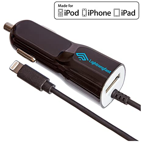 ce7f4a800cde Apple Certified Lightning Car Charger - 2.1 Amp for iPhone X 8 Plus 8 7  Plus 7 6S Plus 6 S 5S 5C 5 SE - Cable USB Socket Rapid Charges 2 Devices -  Keeps You ...