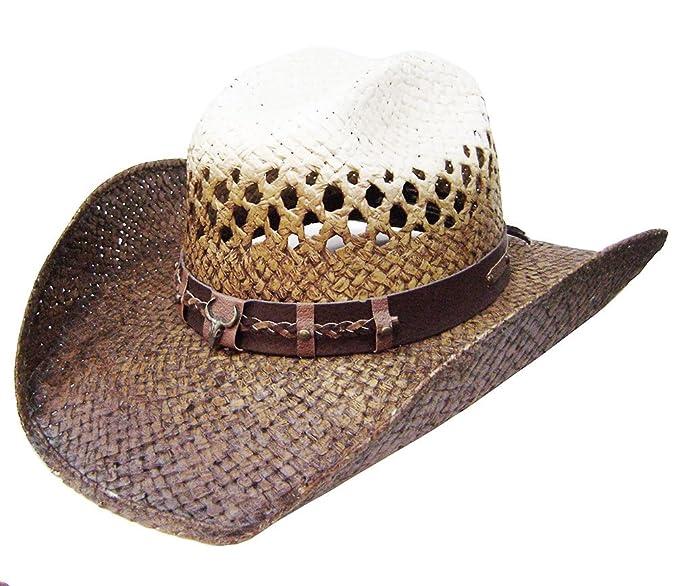 Modestone Traditional Bangora Rodeo Breezer Straw Sombrero Vaquero Beige   Amazon.es  Ropa y accesorios a9873fe6f26