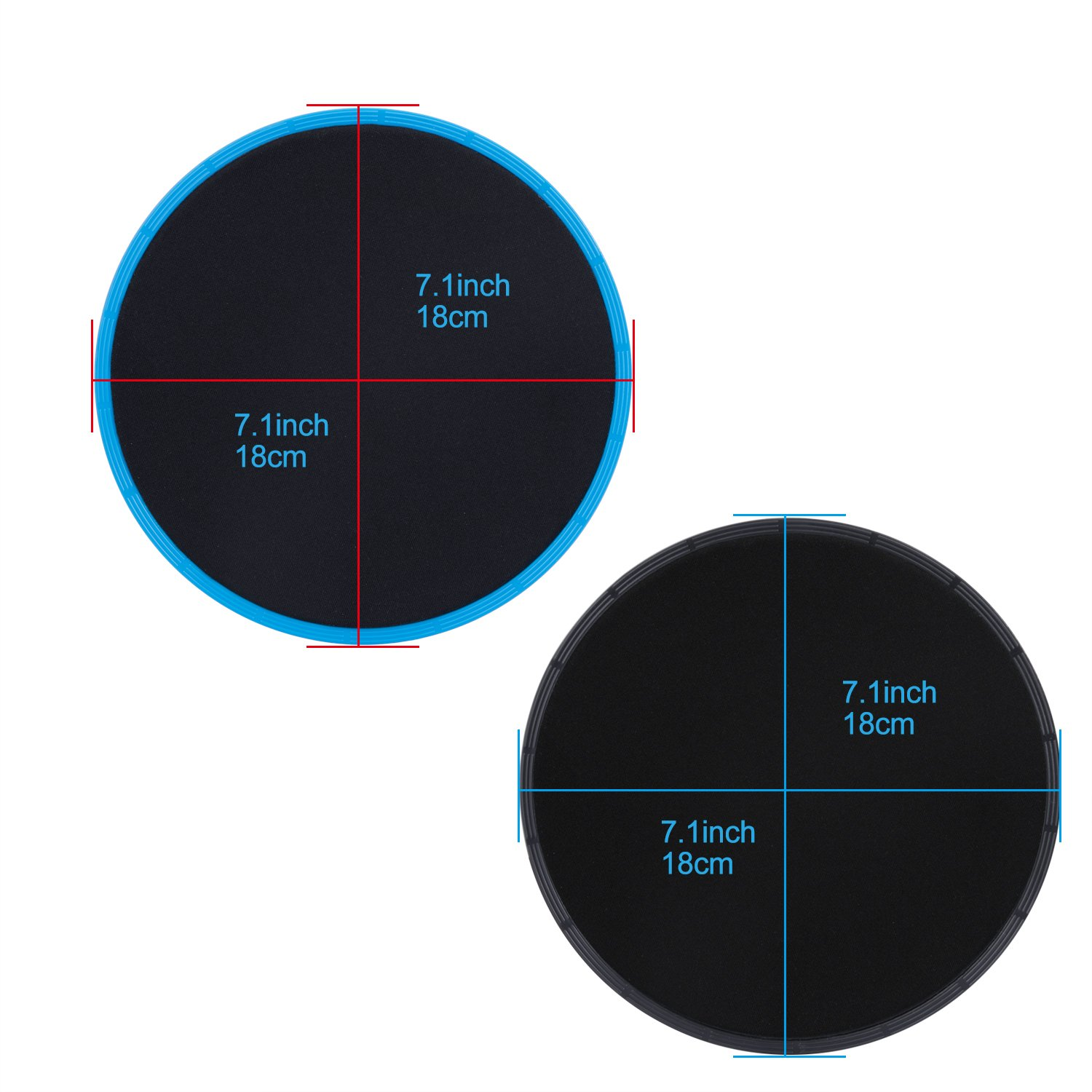 Gliding Discs Core Sliders Exercise Sliders 4 Pack Dual Sided Gliding Slider for Carpet or Hard Floors Core Fitness Ultimate Core Training Gym and Full Body Workout/'s at Home or Travel Black /& Blue AMbs