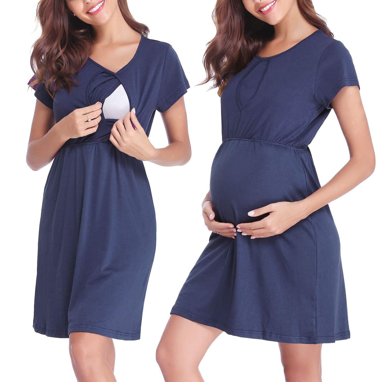 Robe Maternité d'allaitement Coton Manche Courte Robe de Grossesse Ete Multifonctions Robe de Pyjamas Occasionnels Top T-Shirt Casua Blouse