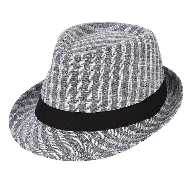 d02248ef Image Unavailable. Image not available for. Color: August Jim Mens Bowler  Hat-Wide Brim Vintage Plaid Cotton Fedoras Jazz Gangster Caps