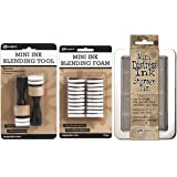 Ranger Mini Ink 1 Inch Blending Tool, Ranger 1-inch Ink Round Ibt40965 Blending Replacement Foams, Mini, 20-pack, and Mini Distress Ink Storage Tin (Bundle of 3)