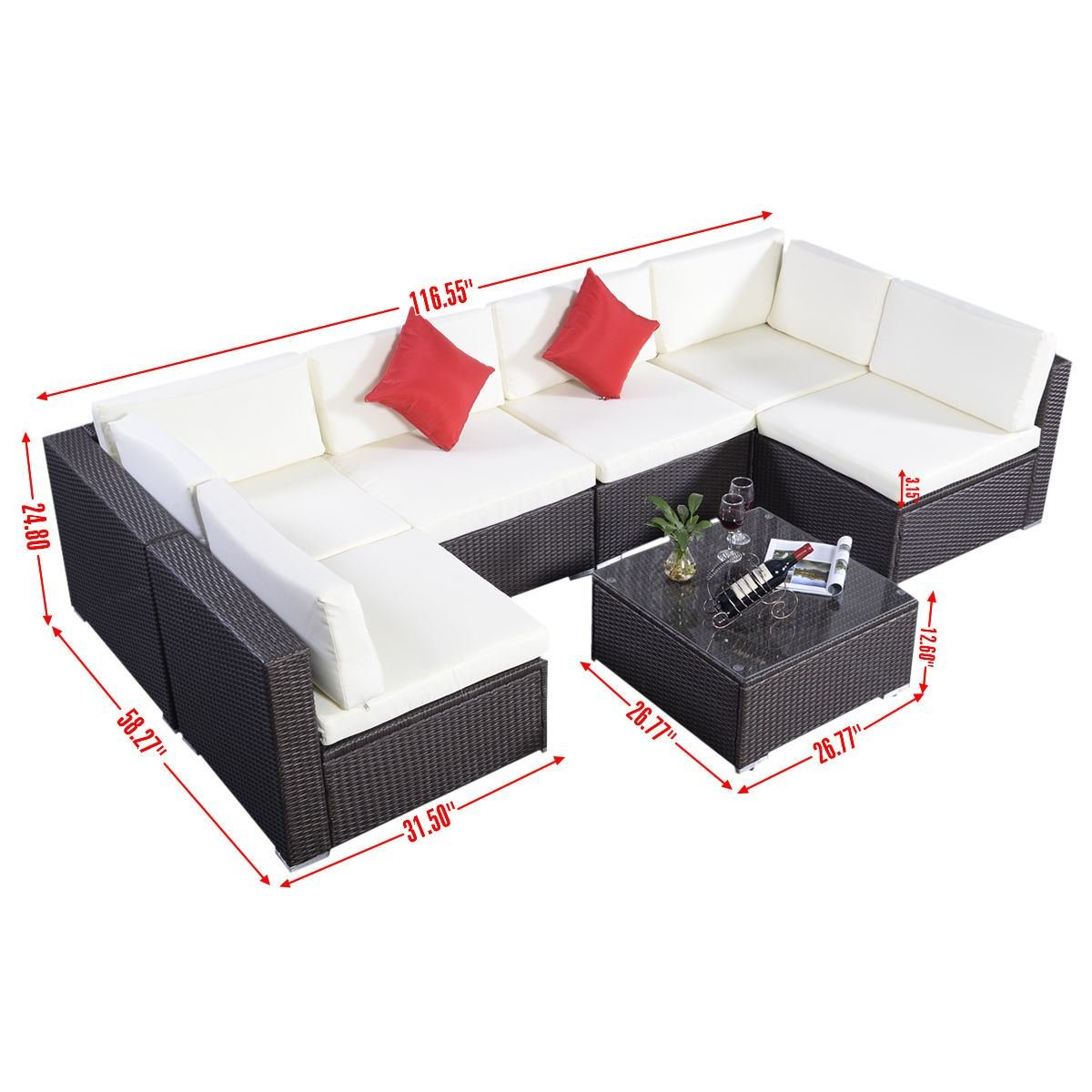 amazoncom giantex outdoor patio 7pc furniture sectional pe wicker rattan sofa set deck couch brown patio lawn u0026 garden - Sectional Patio Furniture
