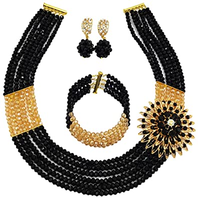 d6f65a9d22409a Nigerian Wedding African Beads Jewelry Set Crystal Beaded Necklace Earrings  (Black Gold AB)