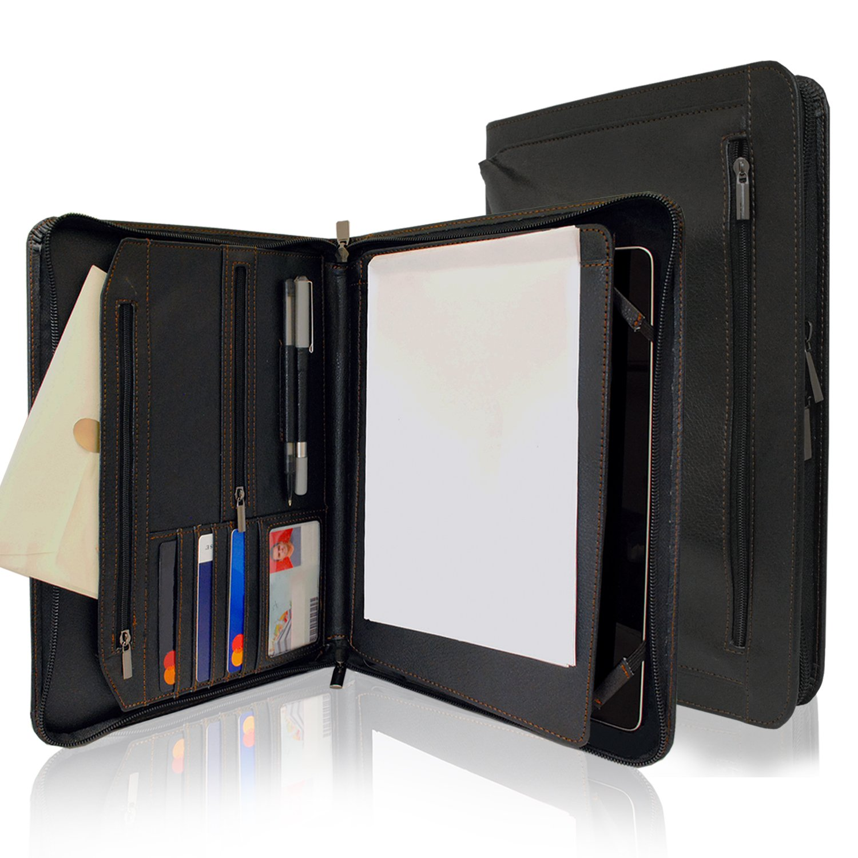 KHOMO Black Executive PadFolio Case with Notepad Holder and Pockets for iPad 2,3,4, iPad Air, iPad Air 2 and iPad Pro 9.7 inch