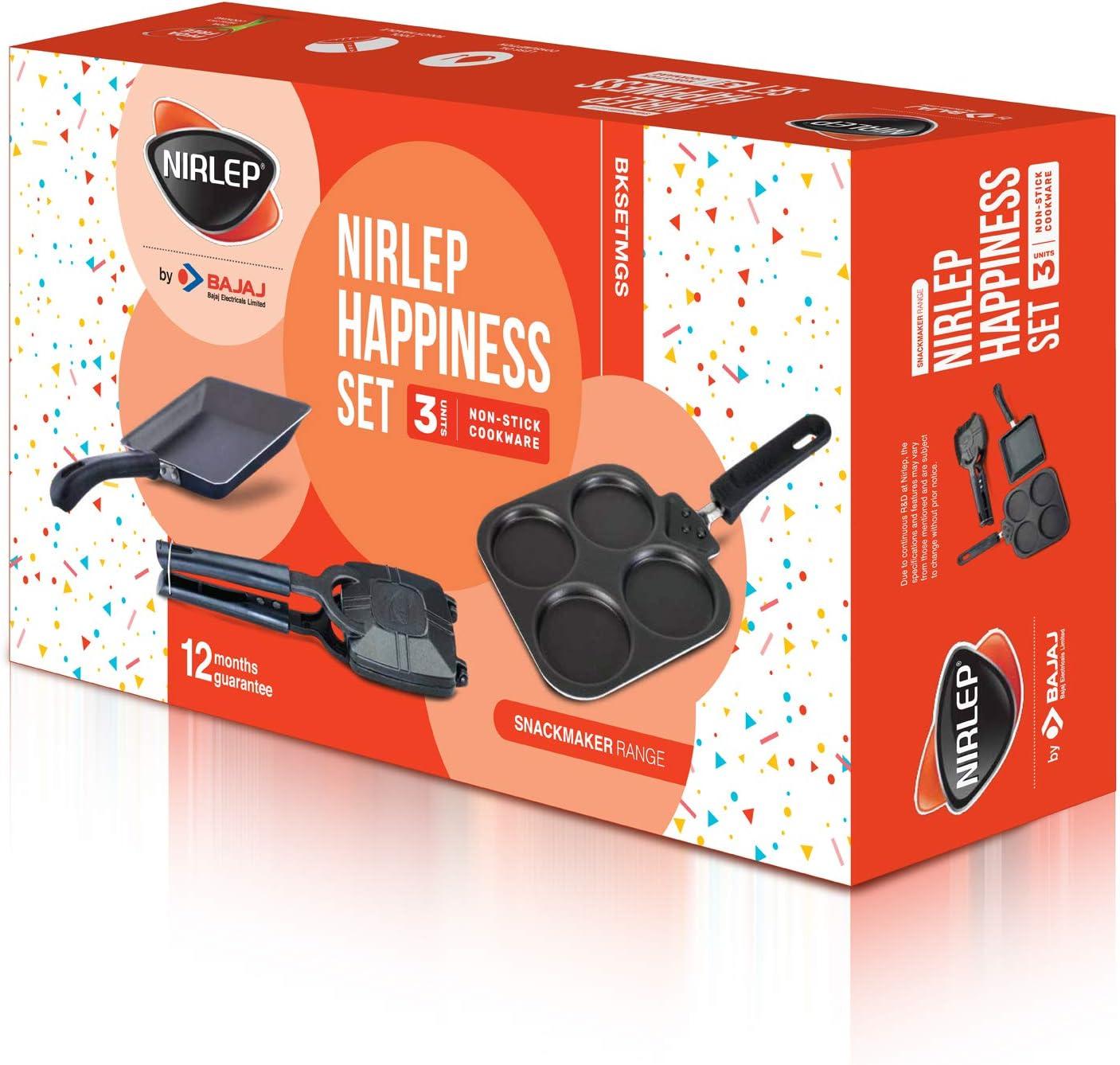 Nirlep by Bajaj Electricals 3-Piece Non-Stick Breakfast Gift Set (Multi Snack Maker 2.2 mm, Sandwich Griller 2 mm & Sandwich Pan 1.2 mm)