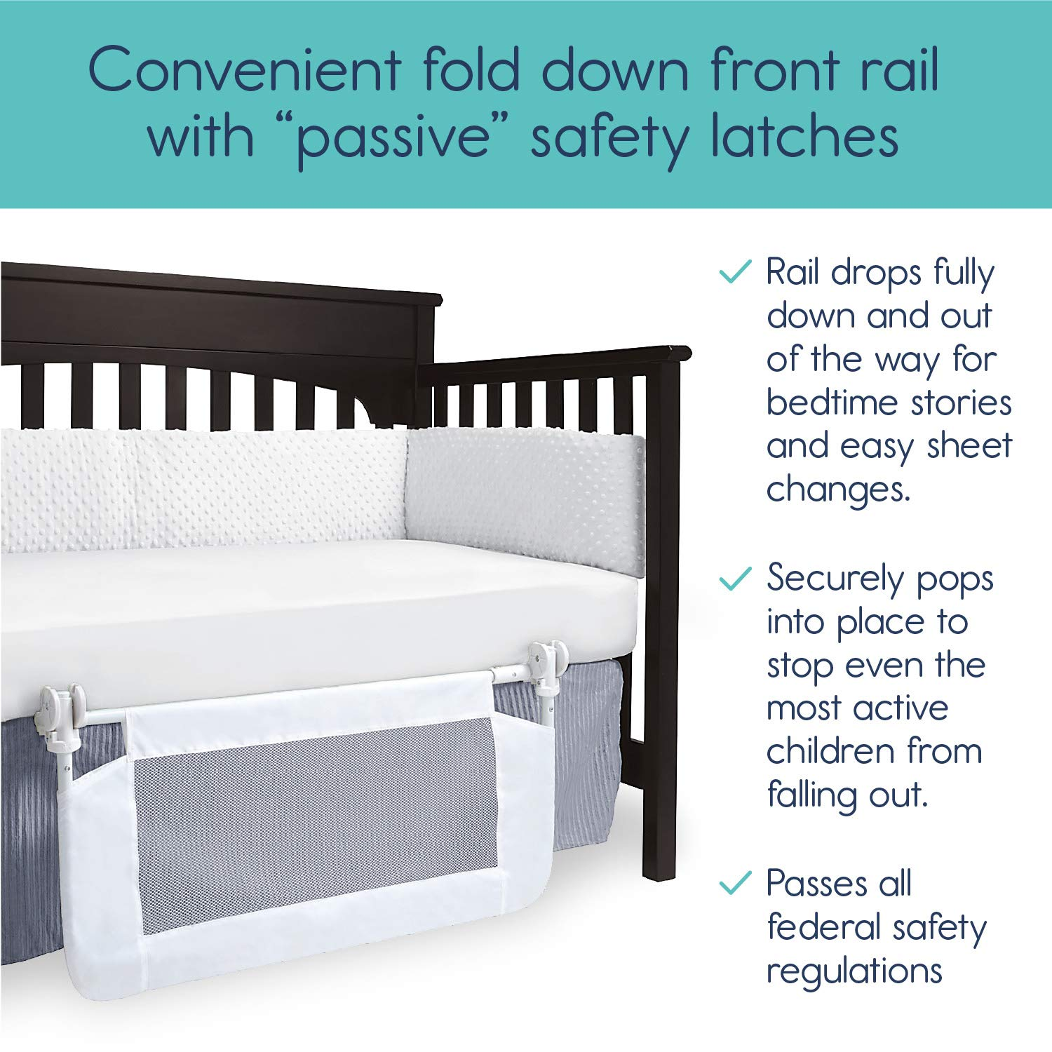 hiccapop Convertible Crib Toddler Bed Rail Guard with ...