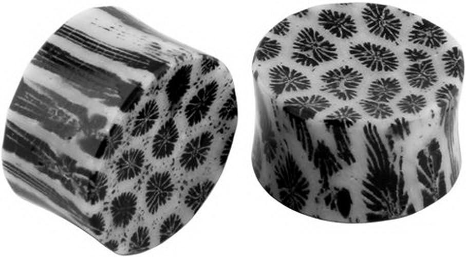 14mm Black /& White Amoeba Design 9//16 - Sold inPair JewelryVolt Solid Stone Double Flare Ear Plugs