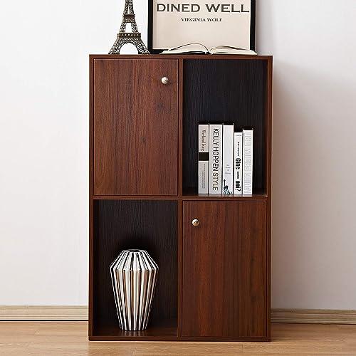 Soges Wooden Storage Organizer Cabinet With Doors Freestanding Unit Bookcase Bookshelf
