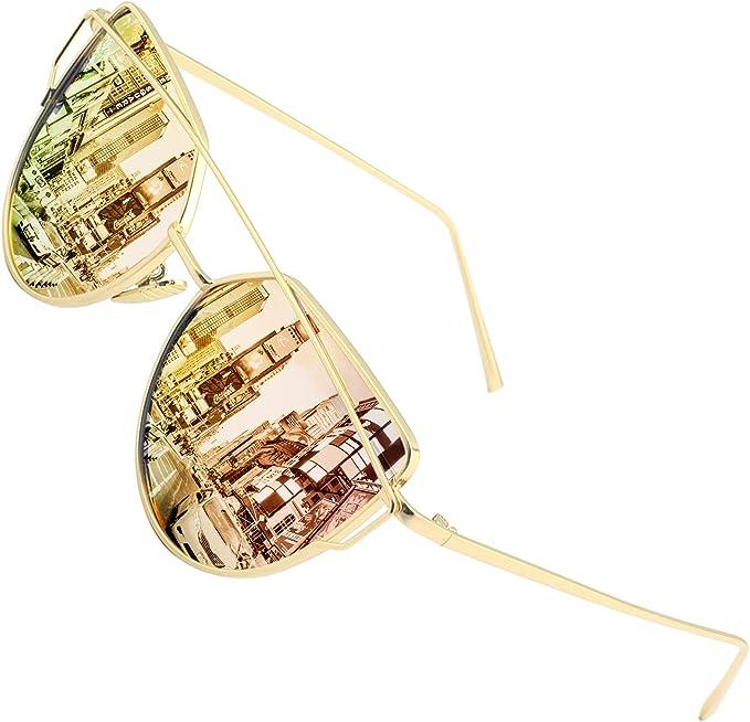 colorati specchiati 1 Occhiali da sole da donna LAAT con montatura grande alla moda polarizzati con protezione UV400