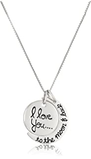DAOCHONG Sterling Silver I Love You to the Moon and Back Charm Crescent Star Necklace 18