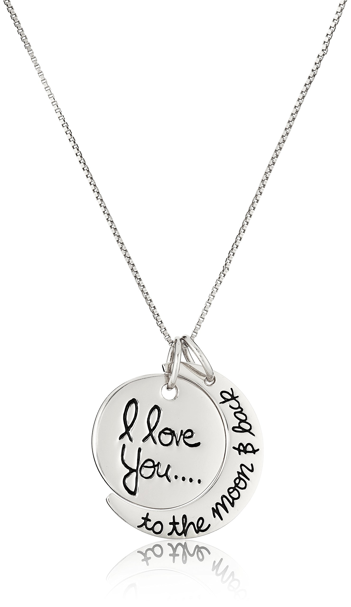 Sterling Silver''I Love You To The Moon and Back'' Pendant Necklace, 18''