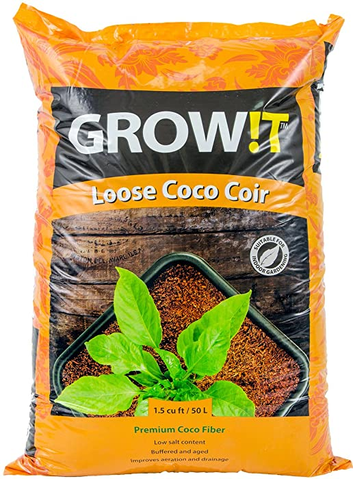 Hydrofarm JSCMIX15 GROWT Premium Coco Coir, Loose Cubic Foot Bag Growing Media, 1.5 cu.', Brown