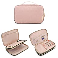 BAGSMART Double Layer Travel Jewelry Organizer Jewelry Storage Carrying Cases for Earrings, Necklaces, Rings
