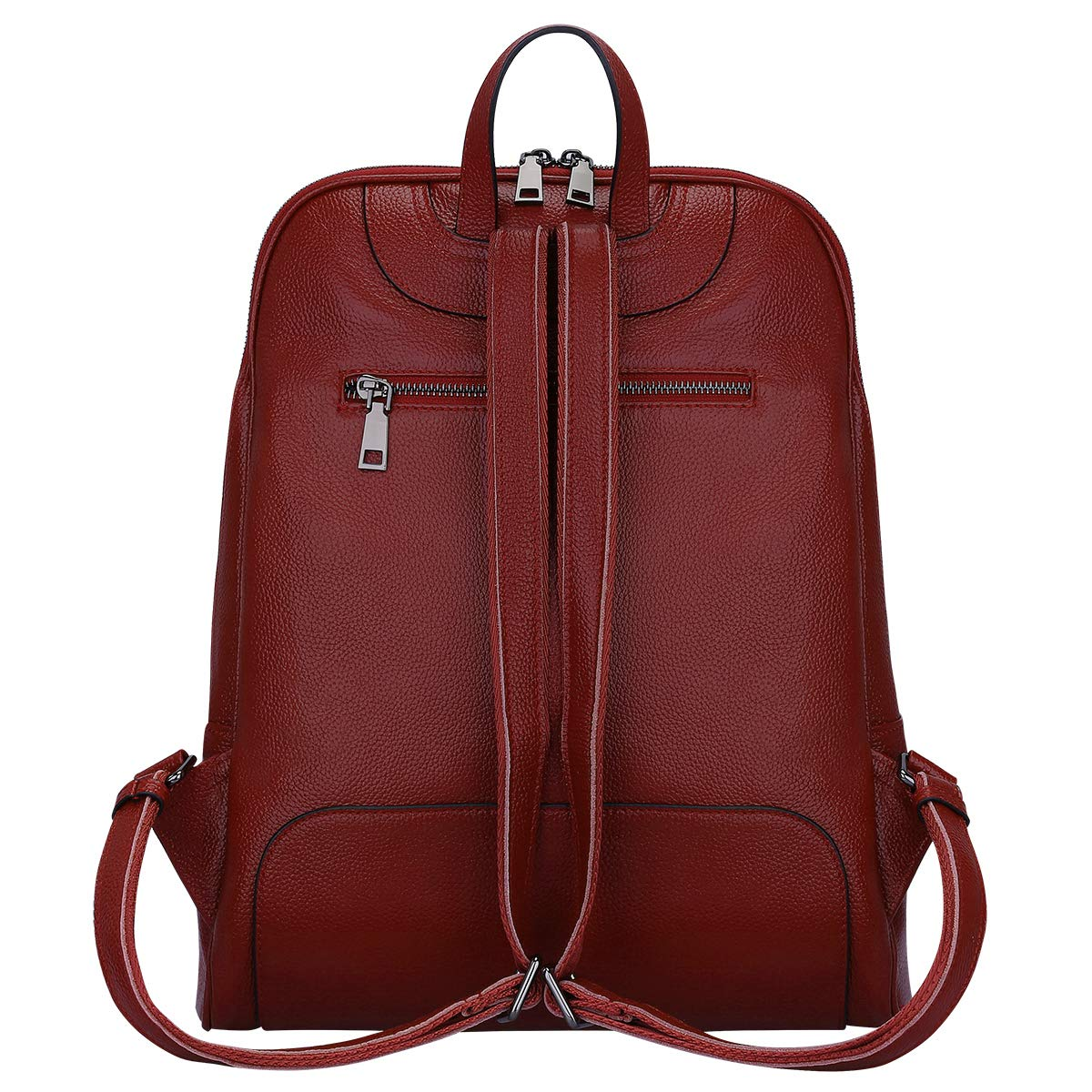 S-ZONE 14 tum bärbar dator kvinnor äkta läder ryggsäck mode ryggsäck handväska ledig axel dam resväska Vinröd