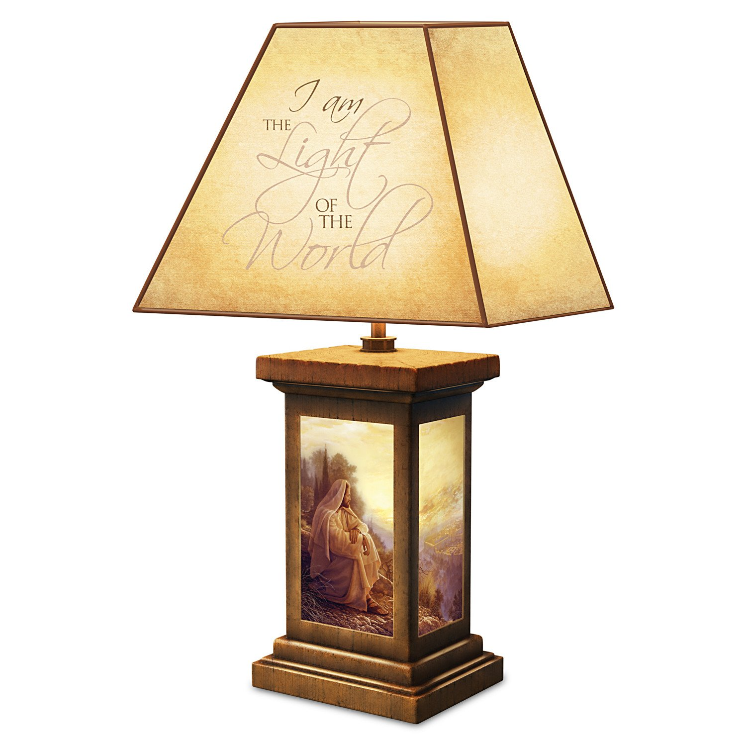 Greg Olsen Light Of The World Jesus Lamp With Scripture Revealing Shade by The Bradford Exchange
