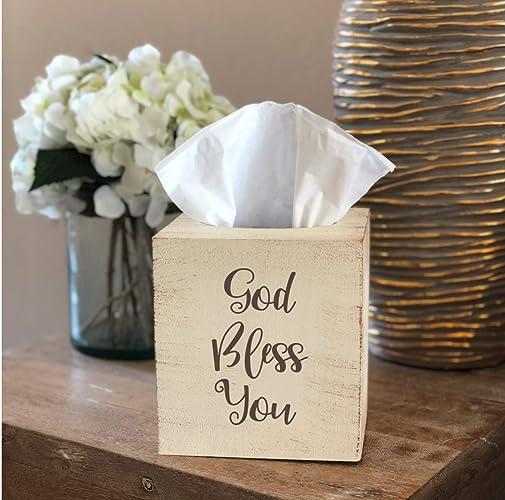 Amazon com: Distressed God Bless You Tissue Box Cover: Handmade
