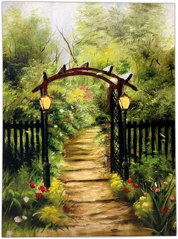 BANBERRY DESIGNS Flower Canvas Print Light Up - Garden and Pathway Arbor Trellis Scene - 16 X 12 - Radiance Lighted Canvas