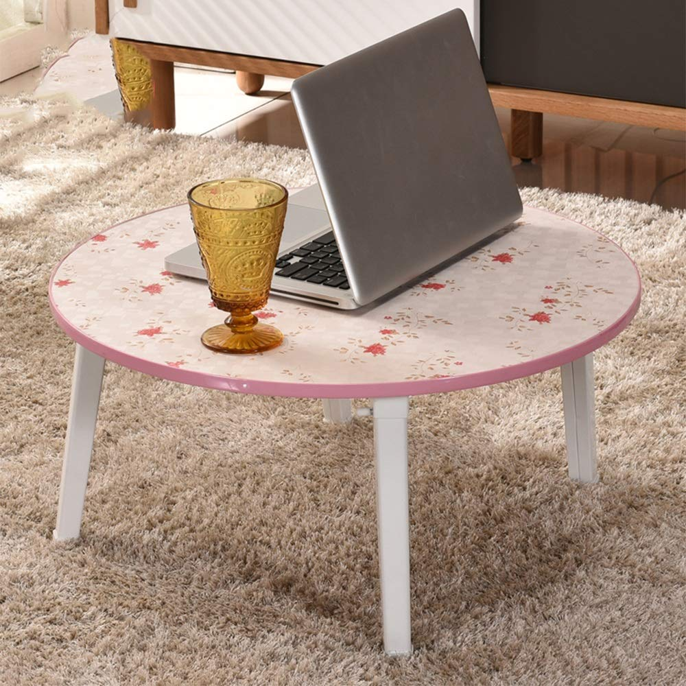 E ZHPRZD Foldable Computer Desk Bed with Small Table Bay Window Table Lazy Table Round Tatami Writing Desk (color   B)