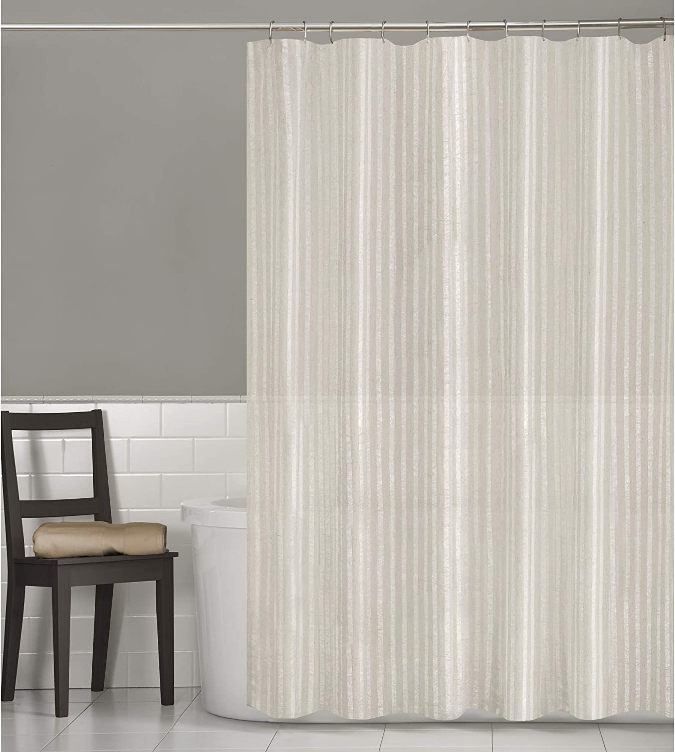 Wide yellow stripes Fabric Waterproof Shower Curtain Panel Sheer With Hooks Set
