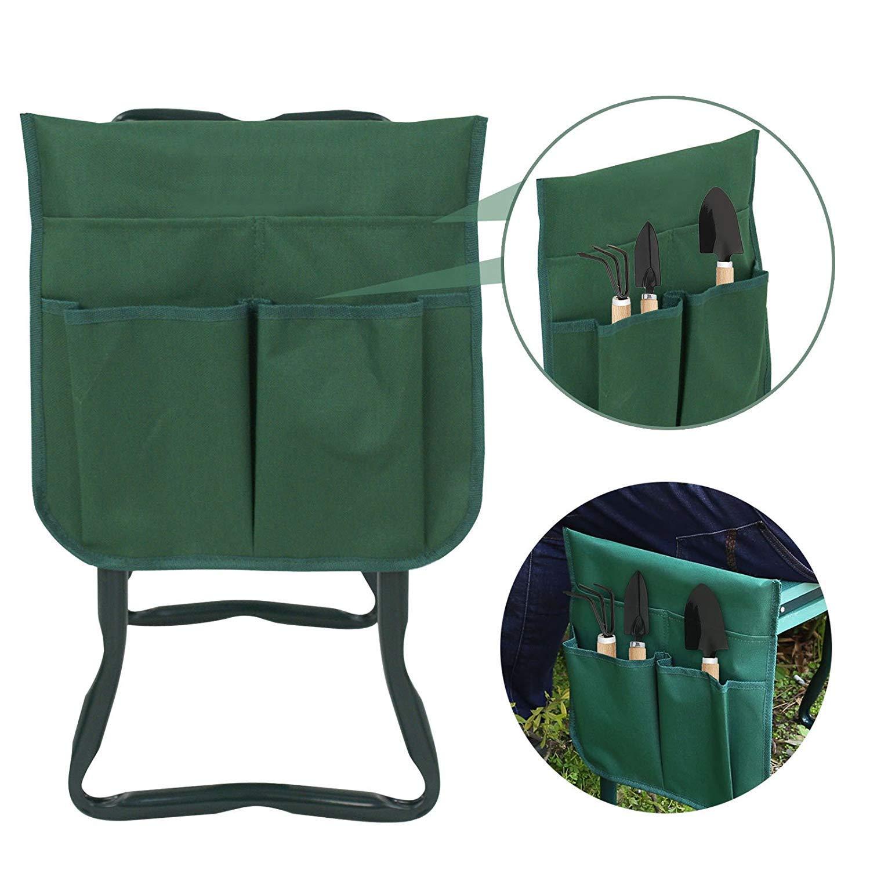 HomGarden Folding Garden Kneeler Seat Bench Stool w//Soft Kneeling Pad and Large Tool Pouch Foldable Gardener Stool