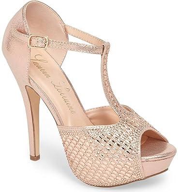 630f773338f Lauren Lorraine Vivian4 Rose Gold Crystal Embellished High Heel Pump Sandal  (10)