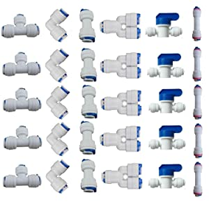 "Lemoy 1/4"" OD Quick Connect Push In to Connect Water Tube Fitting for RO Reverse Osmosis Water Filter Fittings Pack of 30"
