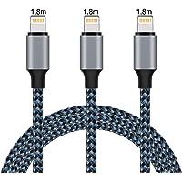 Everdigi Laddningskabel för iPhone, 3-pack nylonkabel [3-pack x 1,8 m] kabel nylon laddningskabel för iPhone X iPhone 8…