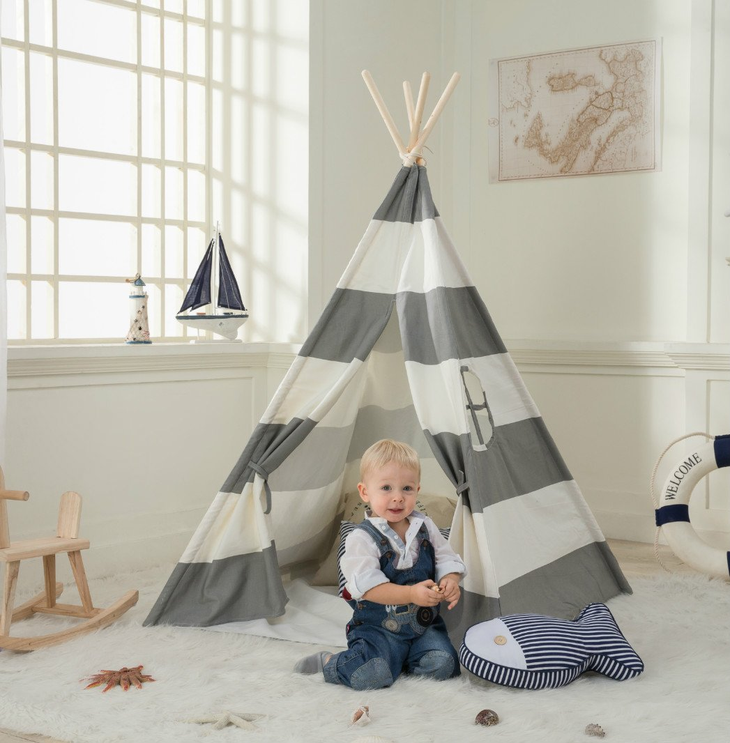 DalosDream Grey Striped Indian Cotton Canvas Teepee with Buttom and Window Play Tent for Kids by DalosDream