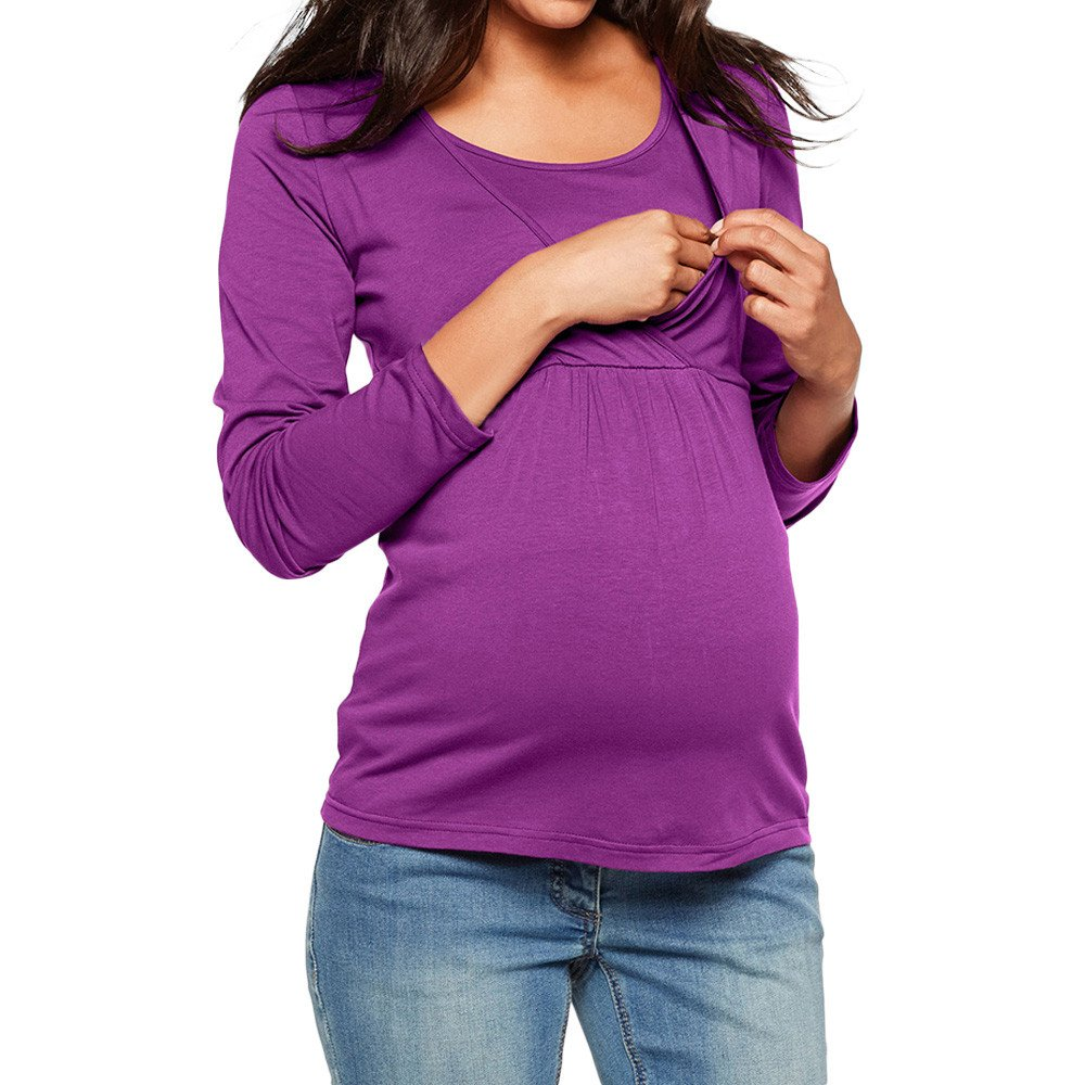 GoodLock Clearance!! Women Mom Pregnant Nursing Tops Long Sleeve Maternity Clothes for Pregnant Blouse (Purple, Large)