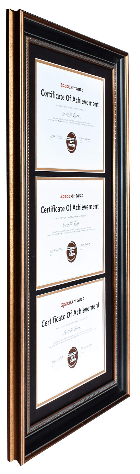 Space Art Deco Ornate Gold Black Design Vertical Triple Certificate/Diploma Frame - Black Over Gold Double Mat - for Three 8.5x11 Certificates and Diplomas- Sawtooth Hangers - Wall Mount (Portrait) by Space Art Deco (Image #3)