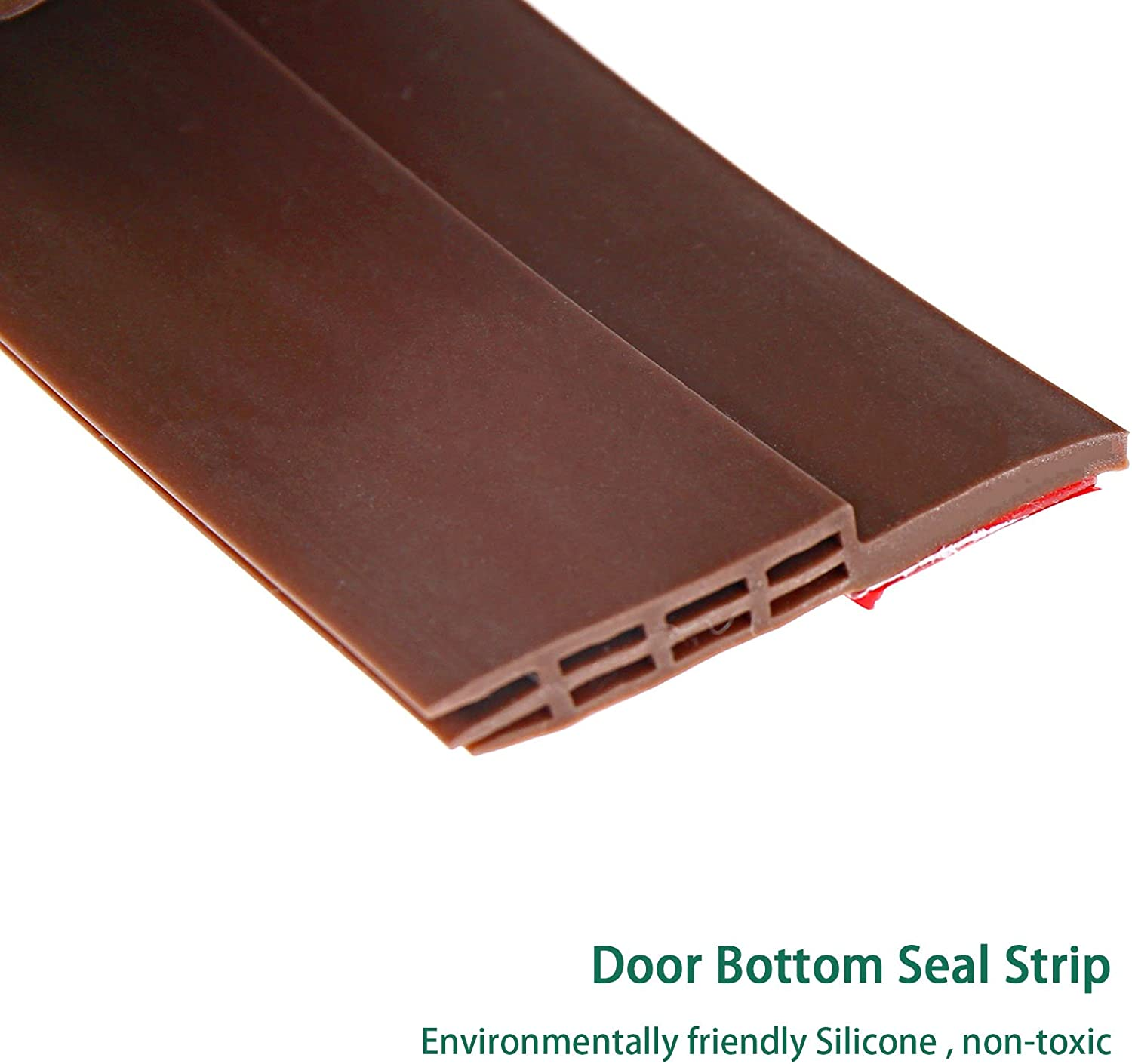 SING F LTD Door Draught Excluder Self Adhesive Weather Stripping Door Bottom Seal Strip 2 Inch X 39 Inch White