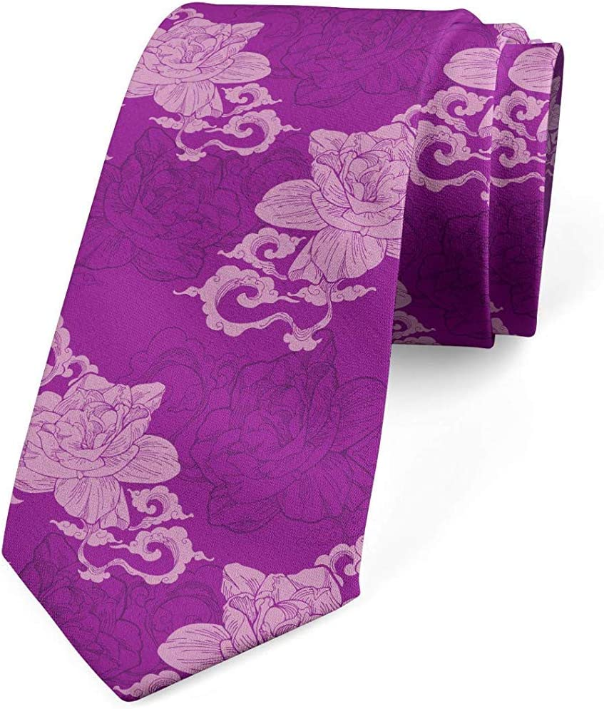 Corbata de hombre, arte de flores de tonos violetas, 8 cm, púrpura ...