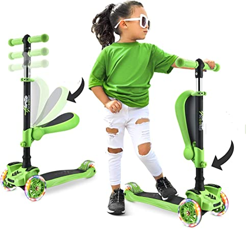 3 Wheeled Scooter for Kids - Stand & Cruise Child/Toddlers Toy Folding Kick Scooters w/Adjustable Height, Anti-Slip Deck, Flashing Wheel Lights, for Boys/Girls 2-12 Year Old - Hurtle HURFS42P (Purple)