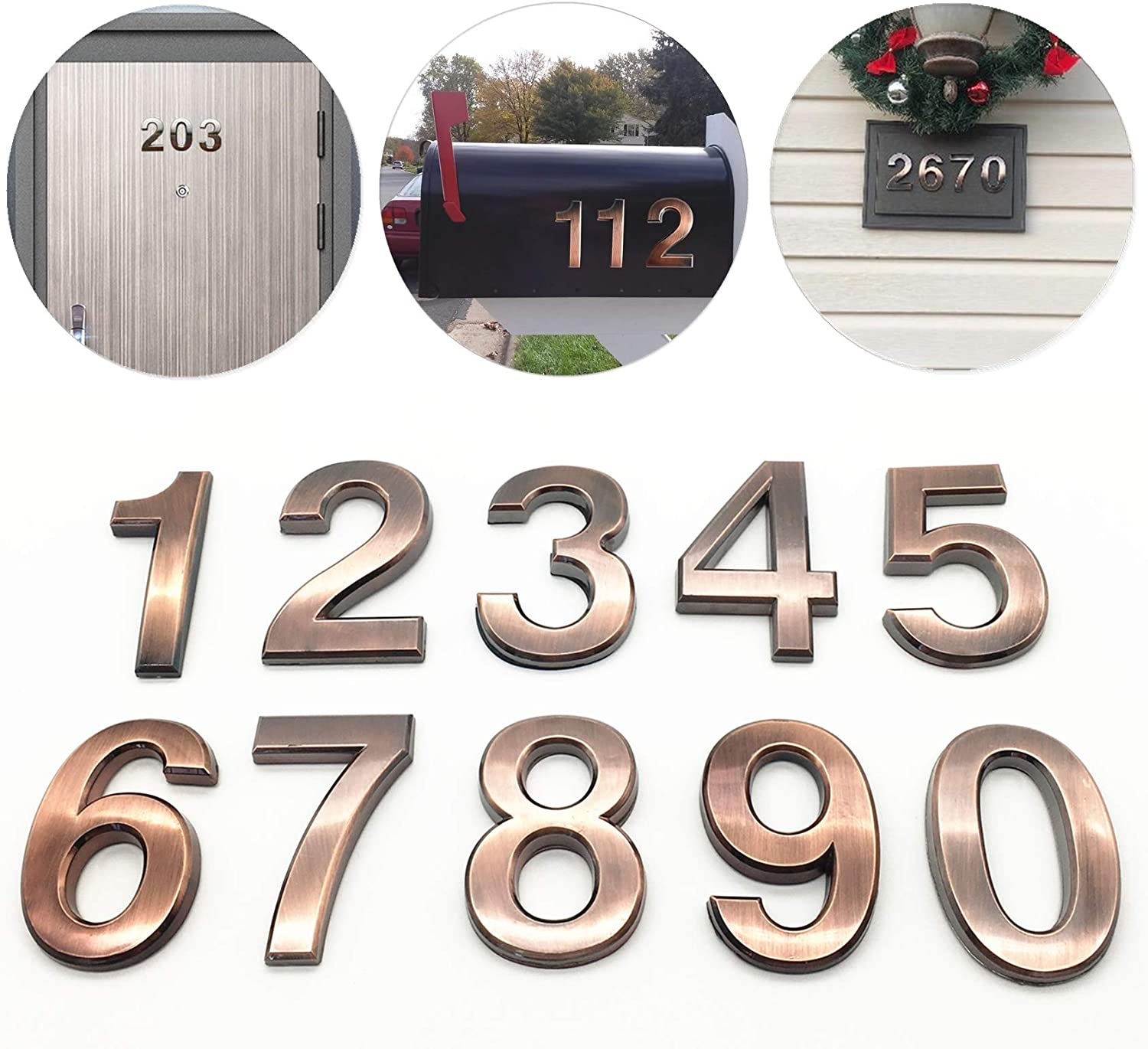 Gold Shining 4 inch Self Stick Mailbox Numbers 4 by FANXUS. 4 Double 4, Gold House Door Address Number Stickers for Apartments