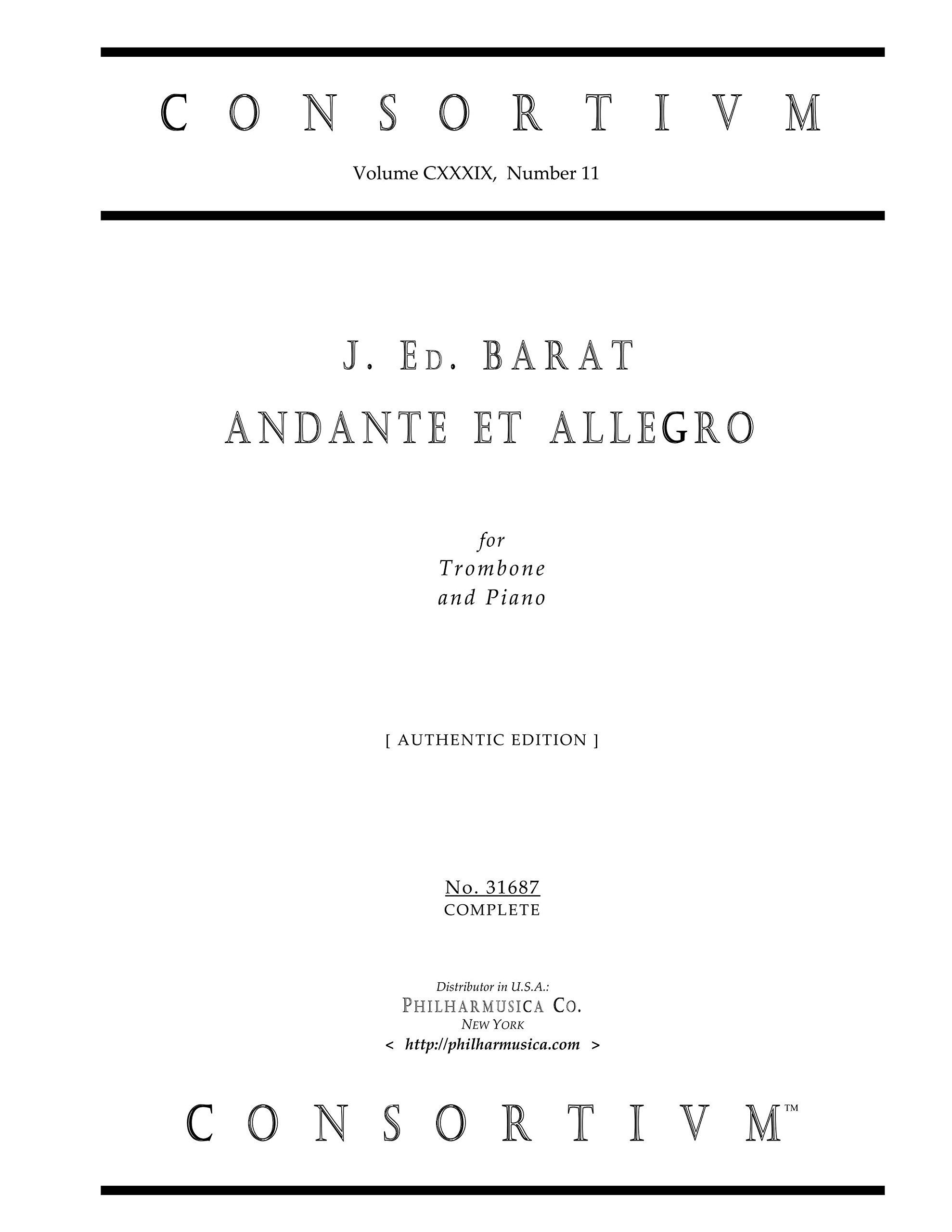 ANDANTE ET ALLEGRO for Trombone and Piano (authentic edition) (Consortium 31687) pdf epub