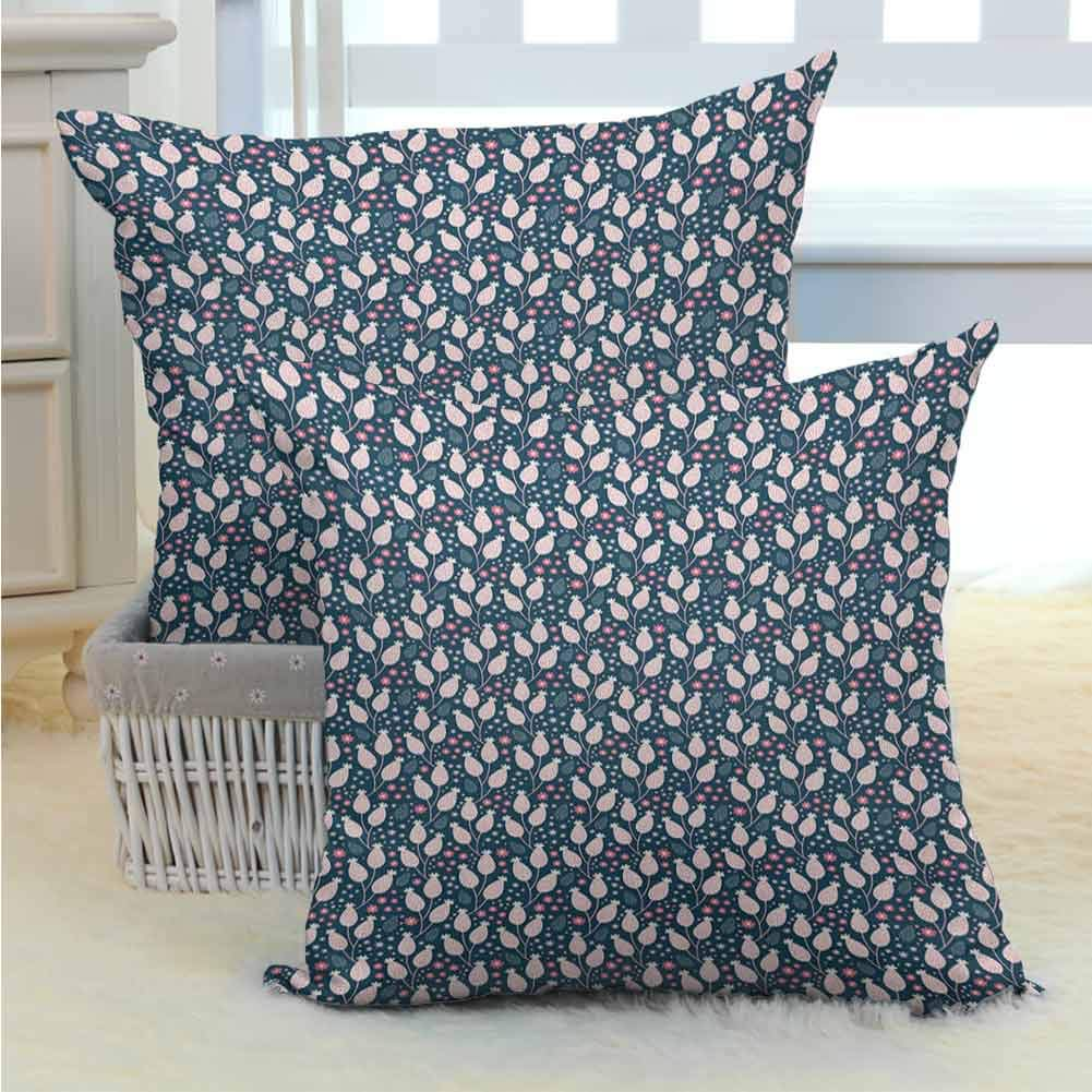 Mannwarehouse Floral Pillow Cover Hand Drawn Blossoming Spring Flowers Pastel Dots on Dark Background Soft and Cozy, Wrinkle Resistant for Couch/Bed/Sofa 2PCS Dark Blue Pink and White -