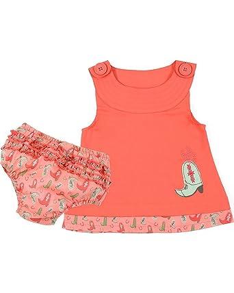 b7c6e5c83 Amazon.com: Wrangler Infant Toddler Girls Ruffle Western Boot Romper  Bloomer Set: Clothing