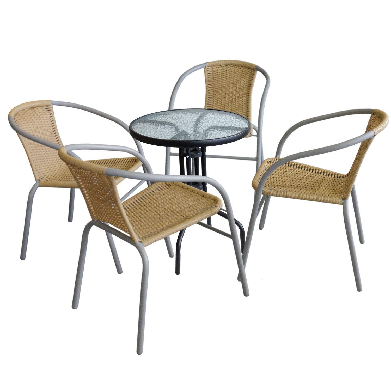 Wohaga 5tlg. Sitzgruppe Glastisch Ø60cm rund Schwarz + 4xBistrostuhl stapelbar, Polyrattanbespannung Beige, pulverbeschichtetes Metallgestell Grau