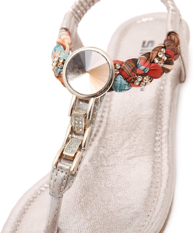 DQQ Womens Gold Flat Thong Sandal 7 US