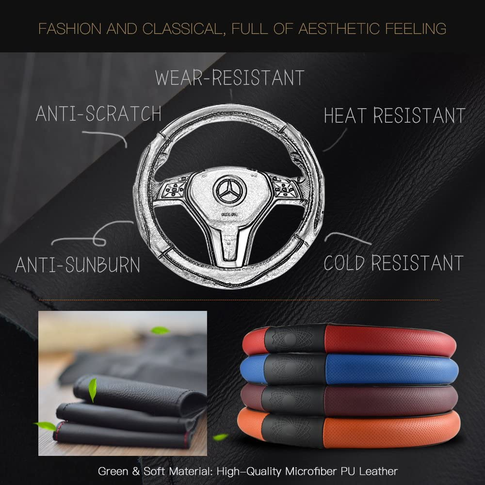 CDGroup Auto Car Steering Wheel Cover Microfiber Leather Universal Fit 37.5-38CM Odor Free 14.5-15 inch Anti Slip for Auto SUV Breathable Circular Shaped-A, Red