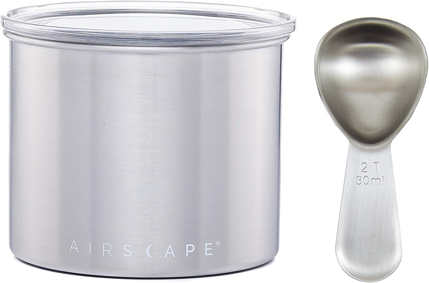 Airscape Coffee and Food Storage Canister with Scoop - Patented Airtight Lid Preserve Food Freshness, Stainless Steel, 4