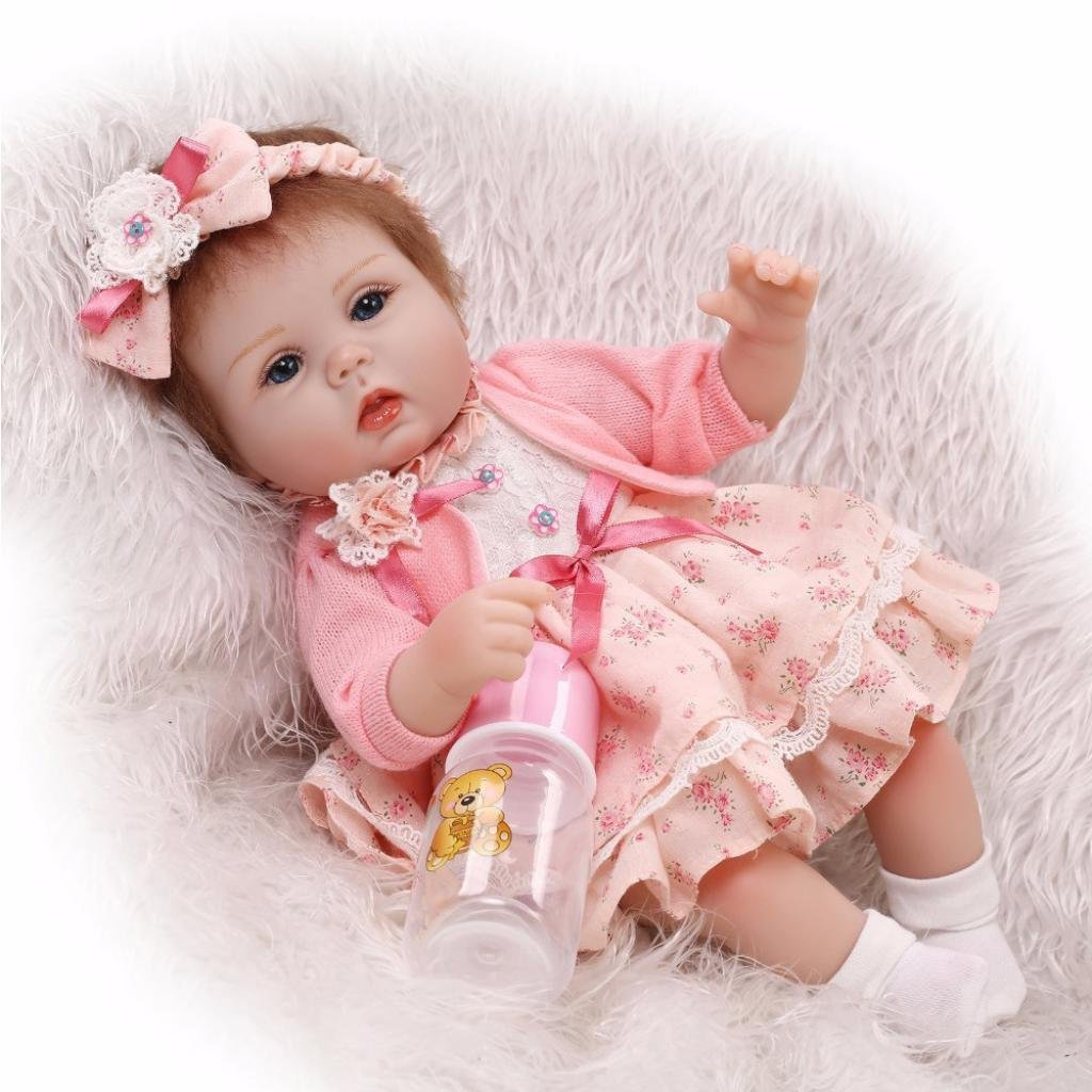 Dirance 16 Inch Lifelike Reborn Doll Sleeping Open Eyes Soft Silicone Full Body Realistic TuTu Dress Girl Doll Vinyl Reallike Newborn Baby Doll Outfits, Kids Gift for Ages 3+,Under 100 Dollars (A)