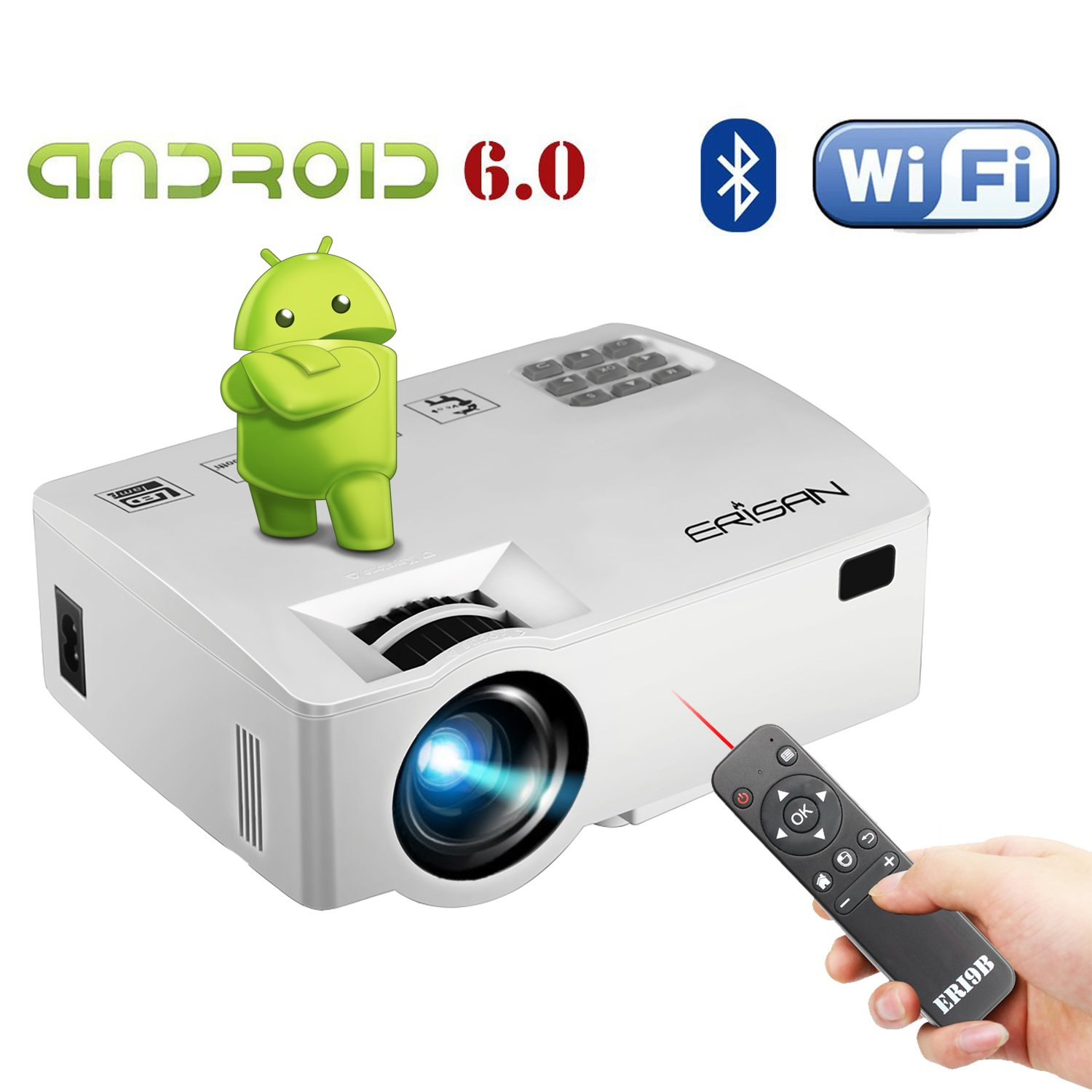 ERISAN Android 6.0 Projector(Warranty Included), Built-in WiFi Bluetooth Mini Smart Video Beam, Portable Multimedia LED Proyector for Movie Video Games APP (White)
