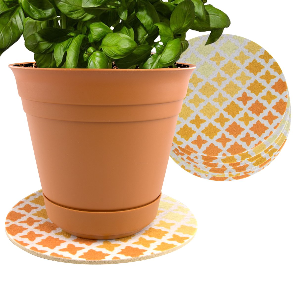 Plastec 6-Pack Indoor Plant Mat for Plastic or Ceramic Flower Pot Trivet Floor Planter Coaster Set by Plastec