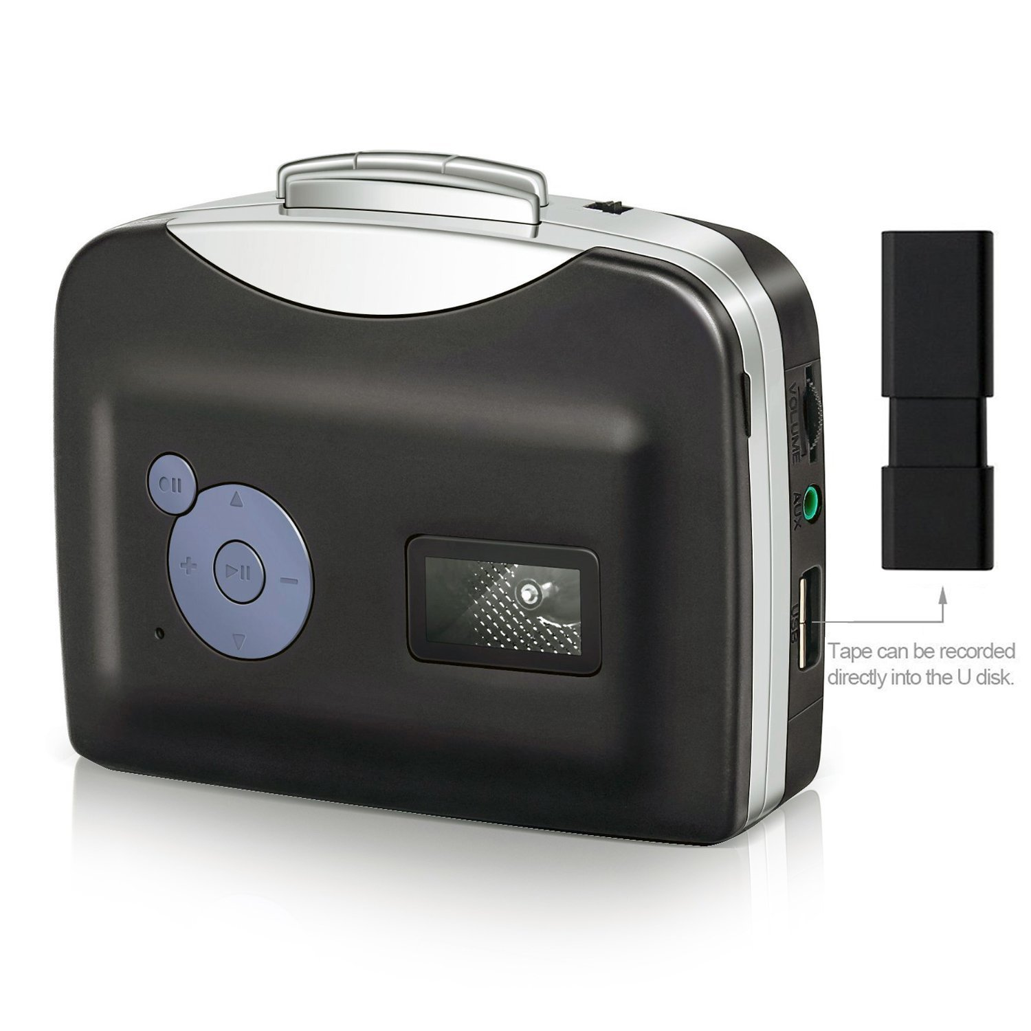 Portable Cassette Converter Portable Cassette to MP3 Converter Stereo USB Cassette Digital tape MP3 Music Player to MP3 Format with Headphones No PC Required