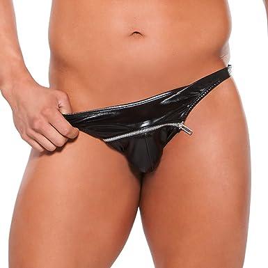 CHICTRY Men s Wet Look Faux Leather Bikini G String Thongs Zipper Front Underwear  Black X- b630fa28e
