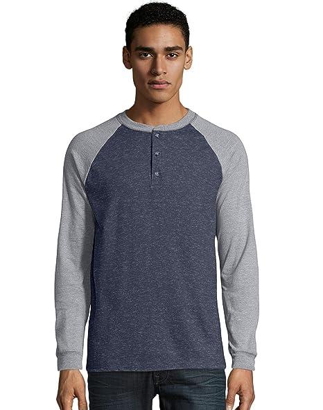 44926440b476 Hanes Men's Beefy L/S Colorblock Raglan Henley at Amazon Men's Clothing  store: