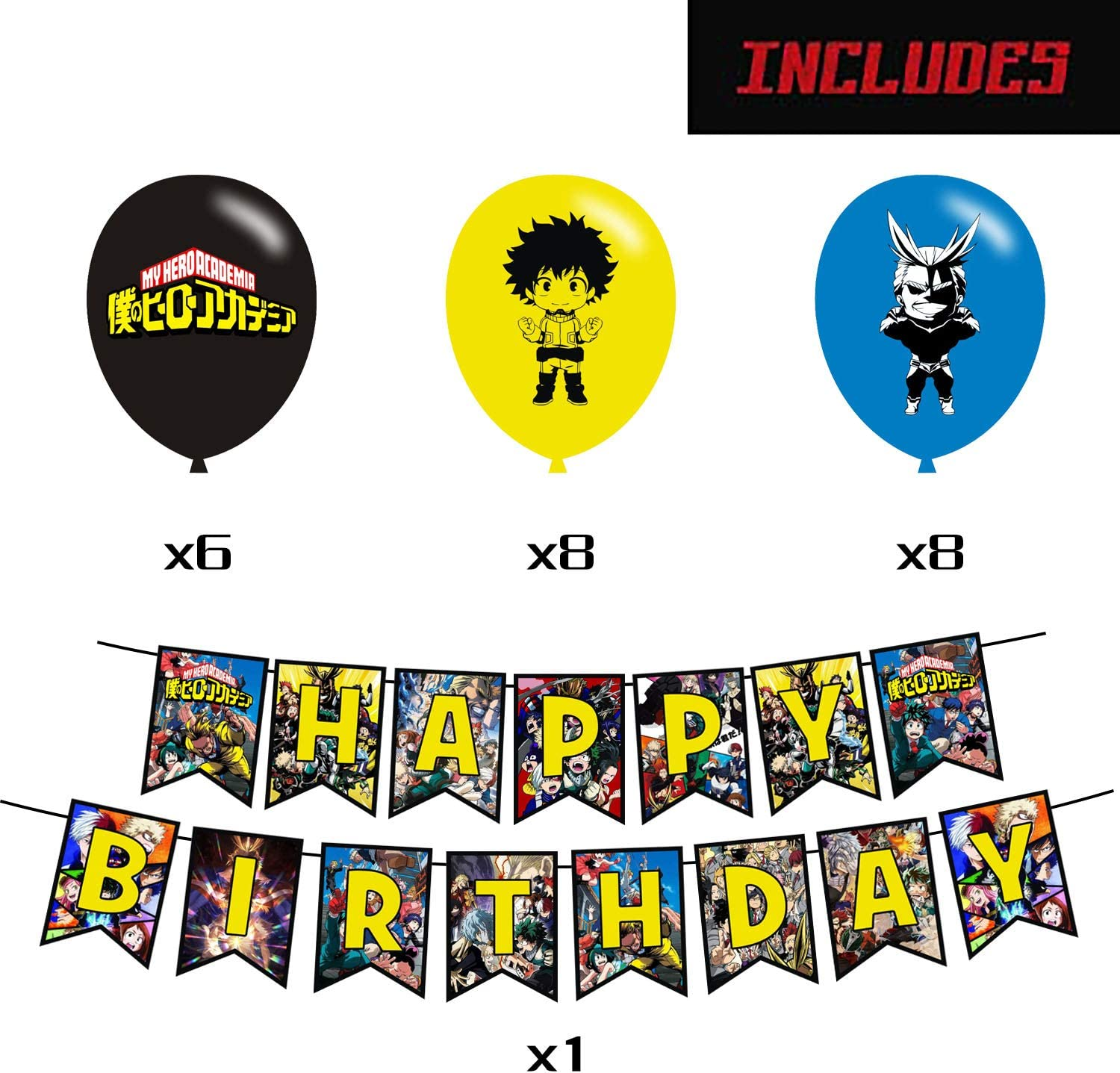 QICIG My Hero Academia Party Set My Hero Birthday Party Decoration Comics Themed Supplies Include 22 Balloons 1Pcs Flag 12 Pcs Cake Toppers Gifts for Hero Academia Fans